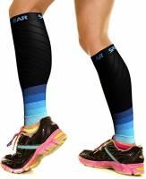 Physix Gear Sport Fasce a Compressione Graduata per Polpaccio (20-30 mmHg) - Calze Running, Ciclismo, Crossfit, Calcio, Corsa - Scaldamuscoli Uomo e Donna per circolazione, Gravidanza - Nero/Blu L/XL