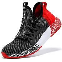 Sneaker Casual da Bambino Scarpe Sportive Corsa Ginnastica Fitness Scarpe da Basket Unisex-Bambini(D Nero Rosso,37 EU)