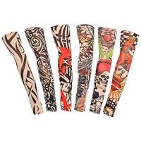 DECARETA 6 Pezzi Tatuaggio Manica Nylon Elastiche Realistico Manicotti del Braccio del Tatuaggio Alata Qualita per festa, Halloween, carnevale, Unisex (40 * 8.5cm)