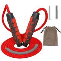 Rshuhx Corda per Saltare Regolabile Professionale Jump Rope con Peso Senza Grovigli Corda di Cotone per Adulti e Donne Uomo Sport e Fitness per Maggiore Resistenza Boxe Crossfit