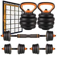 Amazon Brand – Umi Set di Pesi Regolabili per manubri, Kettlebell e bilanciere Multifunzione Peso - 2 x 12,5 kg